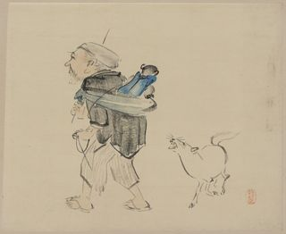 Zeshin Shibata. Public domain. Supposedly a dog barking at a monkey trainer, but I say it's barking at the monkey, and I'm not at all sure it's a dog. Don't you think it looks more like a tiny horse? A tiny barking horse?